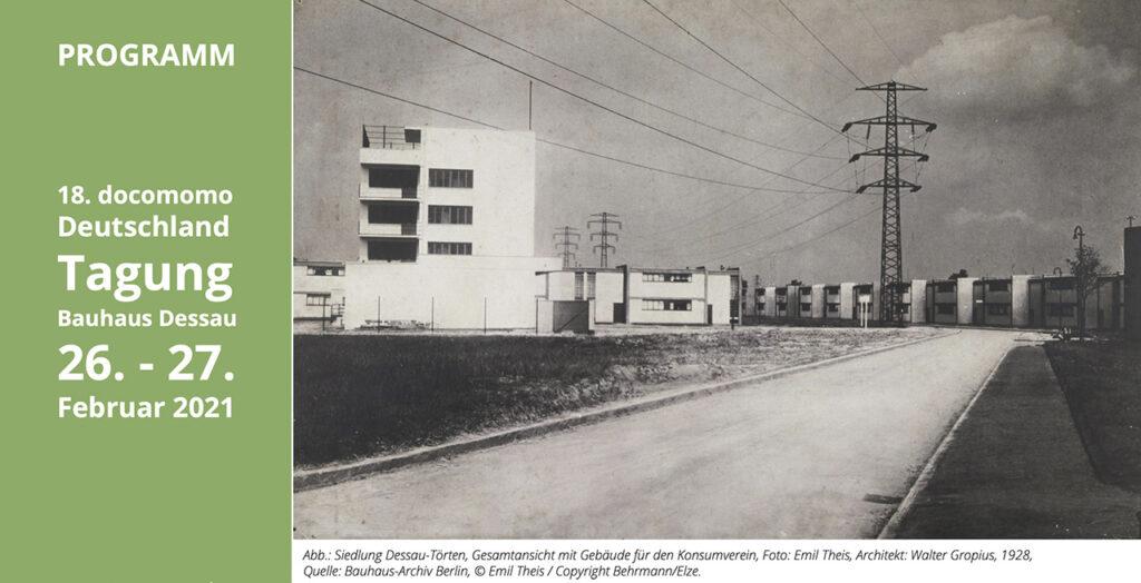 Abb.: Siedlung Dessau-Törten, Gesamtansicht mit Gebäude für den Konsumverein, Foto: Emil Theis, Architekt: Walter Gropius, 1928, Quelle: Bauhaus-Archiv Berlin, © Emil Theis / Copyright Behrmann/Elze.